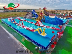 Piscina con marco de metal inflable