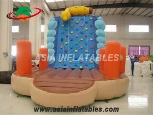 Exciting Inflatable Climbing Wall And Slide Big Blow Up Rock Climbing Wall & Interactive Sports Games